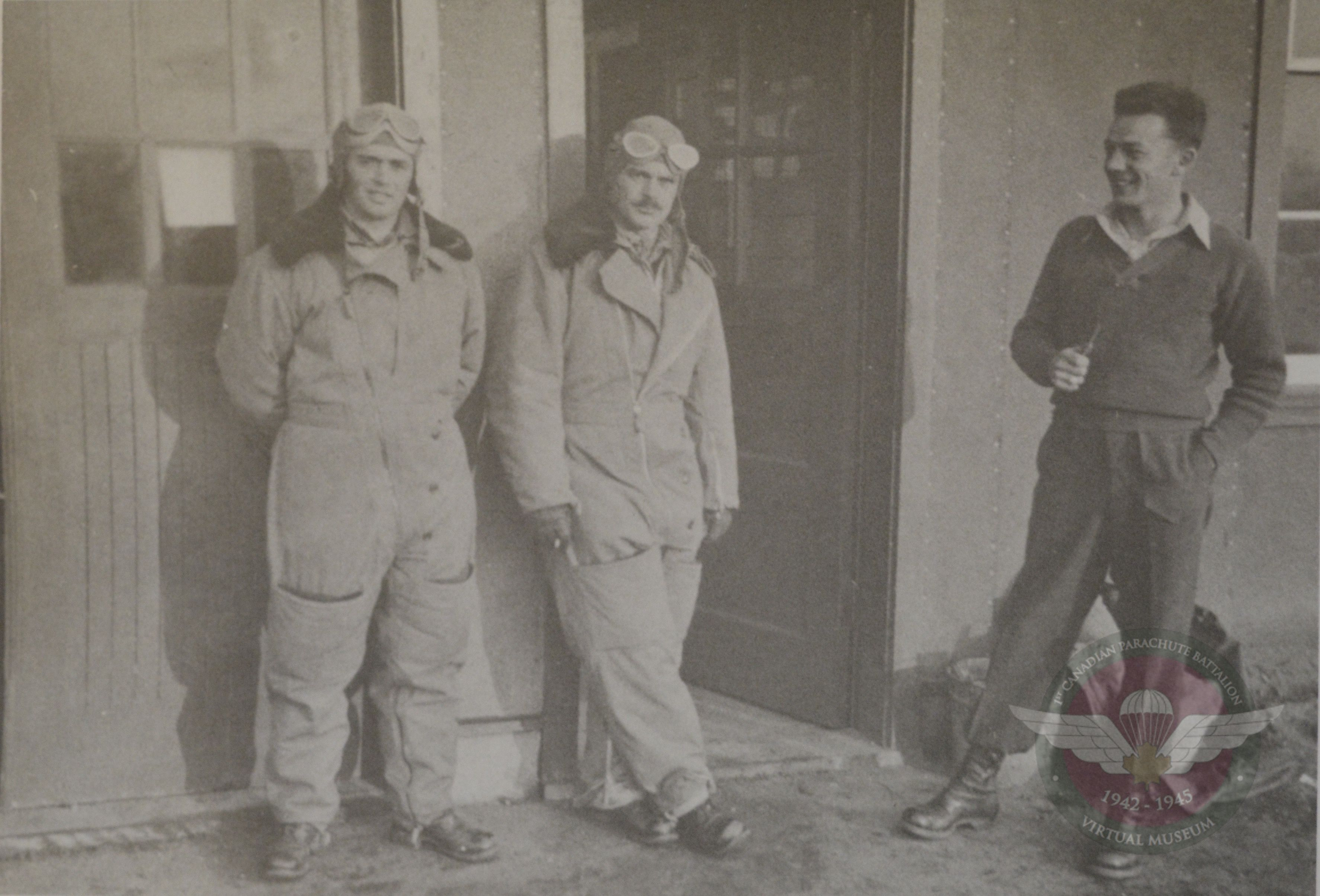 CSM Clifton Major Fauquier Sgt Chapman At The Packing Hanger  Shilo 1943